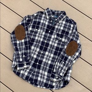 🔻4/$20🔻Polo | Plaid Flannel with elbow patches